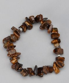 Take a look at this Brown Tiger's Eye Stone Stretch Bracelet by LA Rocks on #zulily today!