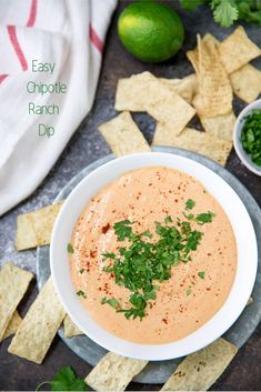 A super easy chipotle ranch dip made in the blender with plenty of flavor and a delicious spicy kick. This dip (or dressing)& be a new favorite to drizzle on tacos or Southwestern inspired meals and is so perfect for dipping with Strips Tortilla Chips. Ranch Dip, Best Appetizers, Appetizer Recipes, Christmas Appetizers, Recipes Dinner, Christmas Cookies, Vinaigrette, Chipotle Ranch Dressing, Tacos