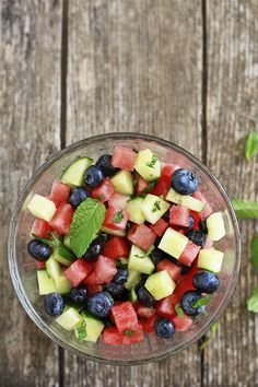 Healthy July 4th Recipe. Minted Watermelon, Cucumber, and Blueberry Salad for Chips.