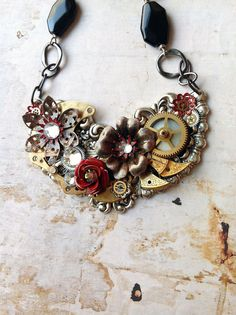Steampunk Flower Necklace  Black and Red Enamel by bionicunicorn, $98.00