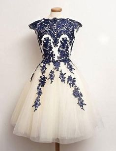 Sexy dress,Vintage Prom/Homecoming Dress - White Tulle with Royal Blue Appliques