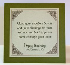Irish Birthday Blessing Inside Card