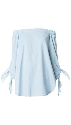 0ea285af2be Tibi | Blue Pale Denim Off-the-shoulder Tunic | Lyst