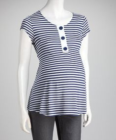 Take a look at this QT Maternity Navy Stripe Maternity Henley by QT Maternity on #zulily today!