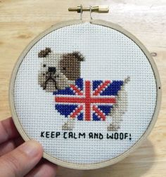 Bulldog Union Jack Mini Cross Stitch Pattern is an easy to stitch project. Kindle edition only.