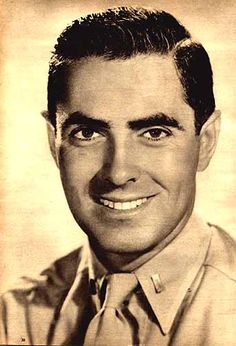 Tyrone Power (1914-1958) Lieut., U.S. Marine Corps, WW II. He was an established movie star when Pearl Harbor was bombed. Nevertheless he joined the Marines, became a pilot and flew supplies into, and wounded Marines out of, Iwo Jima and Okinawa. He returned to the states in Nov 1945 and was released from active duty in Jan 1946. He was promoted to captain in the reserves on May 8, 1951.
