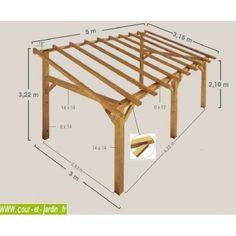 Structure d'Auvent SHERWOOD 5mx3. Ce carport adossé ou auvent de terrasse est une charpente bois en kit de Jardipolys