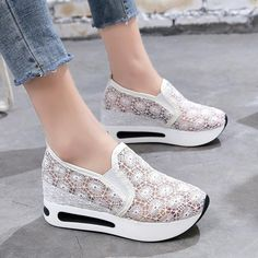 a75f32da9bf2 Women Casual Platform Shoes Lace High Heels Shoes Woman Wedges Women Shoes  Trainers Loafers Height Increasing