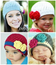 Bella Rose Beanie - EASY- All Sizes