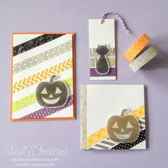 Halloween Washi Tape Cards & Tag | Small T Creations. Get the washi tapes here: https://smalltcreations.etsy.com/