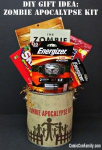 DIY Gift Idea: Zombie Apocalypse Kit + Free Printable.   ] Pick up a copy of World War Z (the movie) and other supplies
