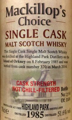 Highland Park 1985/2014 29yo 51.6% (258 bottles) Highland Park Distillery, Scottish Recipes, Single Malt Whisky, Scotch Whiskey, Baking Ingredients, Bourbon, Bottles, Posters, Cigars