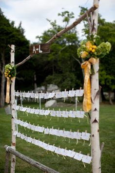 Classic and Rustic Clothespin Escort Card Display