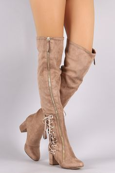 Suede Zipper Corset Lace Up Block Heeled Over-The-Knee Boots