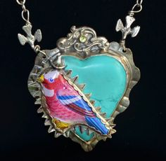 Sweet Bird Studio sterling, turquoise heart and tin bird necklace.