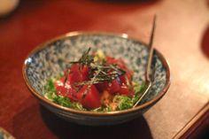 Nattō and tuna from Akari in Islington London Food, Tuna, Guacamole, Salsa, Buttons, Treats, Ethnic Recipes, Sweet Like Candy, Gravy