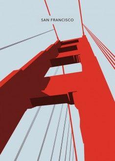 San Francisco  The Golden Gate Bridge Poster Art by LawandMoore