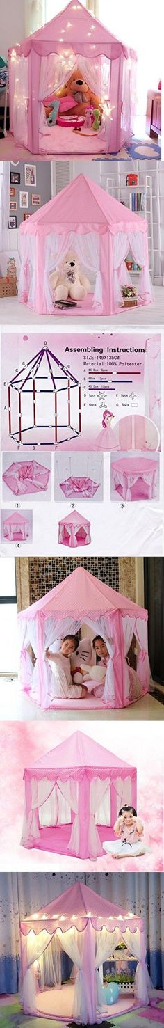 "IsPerfect Kids Indoor Princess Castle Play Tents,Outdoor Large Playhouse With Led Lights,Perfect Outdoor Child Toys - 55""x 53""(DxH)"