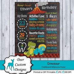 This dinosaur chalkboard birthday poster is a perfect way to celebrate your dino lover's birthday. The birthday poster is personalized with your child's name and milestone details and can be created for any age. 1st Birthday Chalkboard, First Birthday Party Themes, Chalkboard Poster, Kid Names, First Birthdays, Custom Design, Party Ideas, Age, Etsy