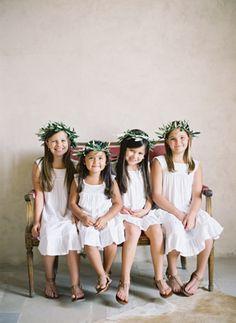Sweet flower girls in white