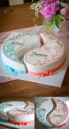 """Cake Creator: """"One Unit"""" baptism cake, YingYang, twins, baptism - essen und trinken - Cake-Kuchen-Gateau Twins Cake, Cakes For Twins, Twin Birthday Cakes, Cupcake Cakes, Cupcakes, Baby Shower Fall, Diy Cake, Baby Shower Cakes, Themed Cakes"""