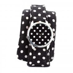 White Dots Textile Strap Watch Wrist Watch for Him & Her Vintage Pattern Design, Soft Summer, Black N White, Vintage Watches, Fashion Watches, Fashion Backpack, Polka Dots, Jewels, Watches