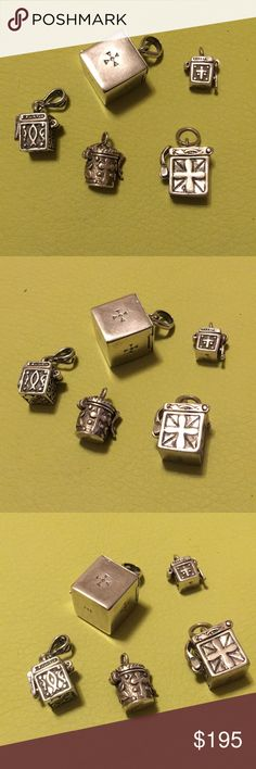 5 Sterling Silver Prayer Boxes All Marked 925 Set of 5 Sterling Silver Prayer Boxes all marked 925. All in like new unused vintage condition. All suitable for Pendants or Charms. Prayer Boxes make great gifts and are very sentimental. Put your favorite pictures or verses inside for a one of a kind gift. Each box is listed individually with measurements. All Clasps are in good working order. Take advantage of a collection price today. Happy Easter~ Connie Prime Jewelry Design Jewelry…