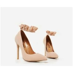 Bella Frill Detail Court Heel In Nude Faux Suede ($39) ❤ liked on Polyvore featuring shoes, pumps, nude pumps, nude court shoes, nude footwear, faux suede shoes and faux suede pumps