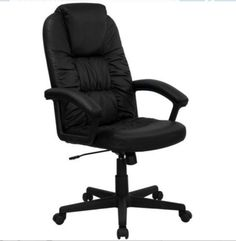 High-Back Managerial Executive Chair Swivel Office Furniture Black Leather New