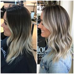 50 Amazing Balayage Highlights and Haircolors To Try 2019 balayage hair brunette; dark and straight balayage hairstyles; Hair Color Highlights, Ombre Hair Color, Hair Color Balayage, Cool Hair Color, Caramel Highlights, Babylights Blonde, Hair Colors, Blonde Ombre, Growing Out Highlights