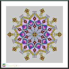 Mandala snowflake colored on Colorfly app from the Premium volume Mandala world. I will call it 'My neutral snowflake'.