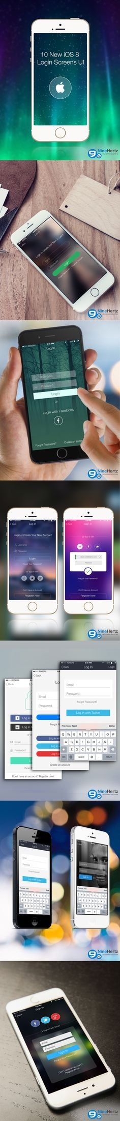 Cut down your design efforts by using this FREE iOS 8 UI PSD, created by Nine Hertz, a mobile app development company. With this FREE PSD, you don't need to scratch your head in guessing unique login screens for each iOS 8 app.     The PSD contains 10 unique design for Login Screen, al