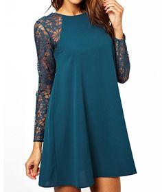 Stylish Scoop Collar Color Matching Lace Chiffon Splicing Long Sleeves Women's DressChiffon Dresses | RoseGal.com
