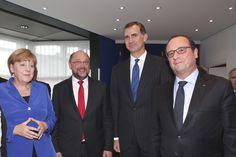 Don Felipe junto a Angela Merkel, François Hollande y Martin Schulz Estrasburgo, 07.10.2015 European Council, European Parliament, Strasbourg, Day Planners, Activities, Angela Merkel