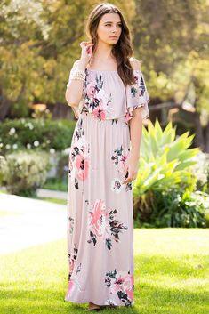 684ac549076 Romantic Floral Maxi Dress - Maxi - GOZON Mauve Dress