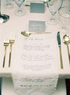 fabric menu via style me pretty