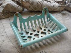 vintage french enamel metal soap dish bathroom