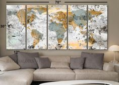"XLARGE 30""x 70"" 5 Panels 30""x14"" Ea Art Canvas Print World Map Original design Watercolor texture Old Wall Home decor interior (framed 1.5"" depth)"