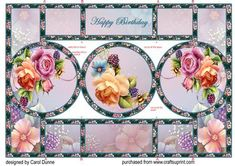 English roses shutter card on Craftsuprint designed by Carol Dunne - Easy to make folded pop-out shutter card. If your printer does not like heavy card stick onto stronger card before cutting out. - Now available for download!
