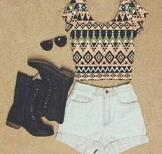 Tribal Crop Top And High Waisted Shorts... doubt I could pull this off, but hey it's cute :)