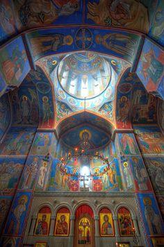 Colourful frescoes inside Mamadaviti Monastery, Tbilisi. Georgia: the Bradt Guide; www.bradtguides.com/georgia