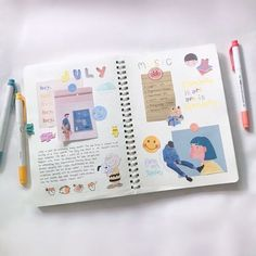 Image about art in journal inspo by elle 🌻 on We Heart It Bullet Journal Notebook, Bullet Journal Spread, Bullet Journal Ideas Pages, Bullet Journal Inspiration, Journal Themes, Journal Layout, Bujo, Bullet Journal Aesthetic, Scrapbook Journal