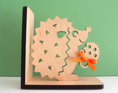 Wood Bird Bookend by graphicspaceswood on Etsy