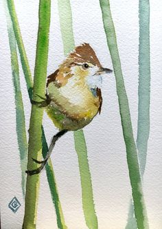 Reed warbler - 5x7 Original watercolor painting - nature art, little bird, minimalist, small, impressionist, Japanese inspired, cute