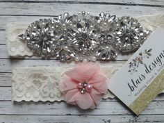 Rhinestone bridal garter set with blush flower