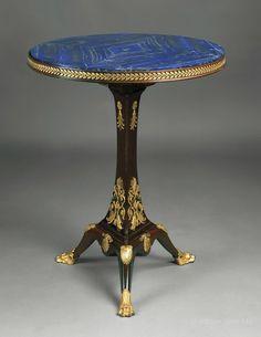 "A Fine Empire Style Gueridon With a Lapis Lazuli Top Ca1900 France. 29.92""H x 23.62""Diam."