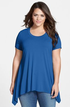 Vince Camuto Short Sleeve Shark Bite Hem Top (Plus Size) available at #Nordstrom