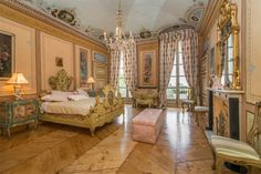 Villa Cimena, Strada Cimenasco; a pearl mansion villa in the Palladian style houses rare and incredibly beautiful majestic rooms. The Villa is located a few kilometers from Turin in the countryside and overlooks the Po river. A Regal Bedroom...