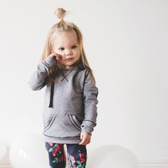 The Mini Signature Hoodie in Heather Grey + Mini At Ease Sweats | @albionfit Kids