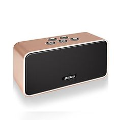 Piple Classic portable wireless bluetooth speaker HiFi stereo with builtin microphone Enhanced Bass Clear Treble20 Hour Battery Life works with iPhone iPad Samsung Nexus HTCBlack Gold *** Be sure to check out this awesome product.